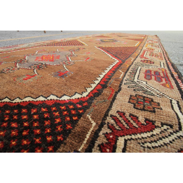 Vintage Tribal Turkish Hand Knotted Rug - 4' X 12'2 For Sale - Image 4 of 6