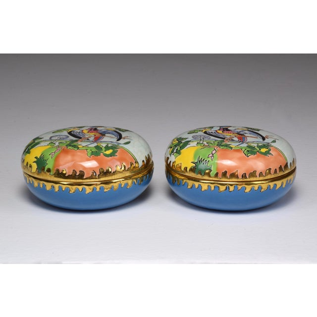 Pair of 20th Century French Trinket or Jewelery Longwy Boxes For Sale - Image 10 of 13