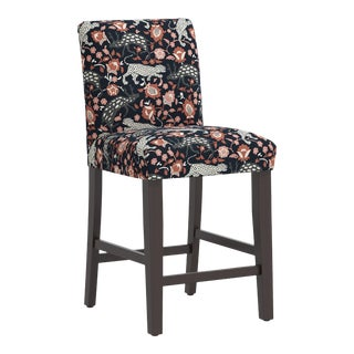 Counter Stool in Leopard Coral Navy For Sale