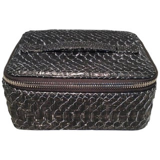 Nwt Chanel Gray Python Snakeskin Jewelry Travel Pouch Case With Accessories For Sale