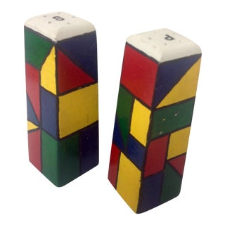 Piet Mondrain Style HardWood Salt & Pepper Shakers For Sale