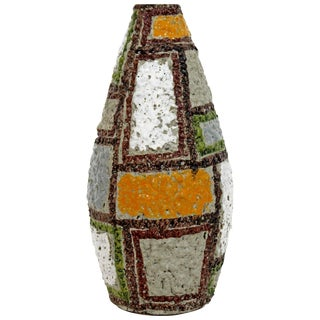 Vintage Mid-Century Modern Raymor Patchwork Ceramic Vase Fratelli Fanciullacci For Sale