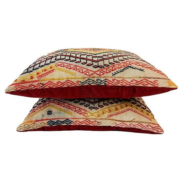 Antique Caucasian Soumak Pillows, Pair - Image 5 of 8