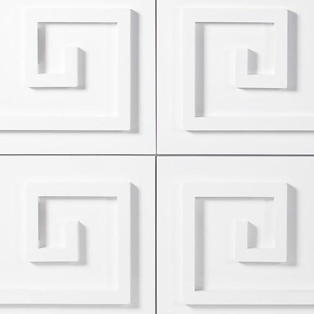 Worlds Away White Lacquer Greek Key 4-Drawer Dresser With Mirrored Top - Image 3 of 3