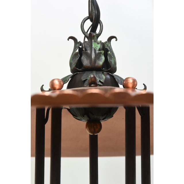 Copper and Verdigris Open Lantern For Sale - Image 9 of 12