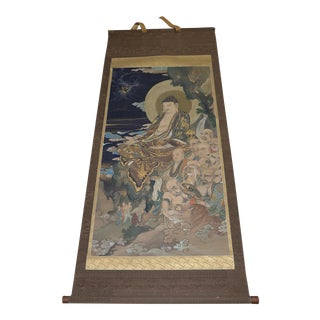"""Antique Japanese """"Buddha and His Disciples"""" Hanging Scroll For Sale"""