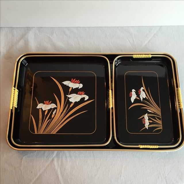 Black Lacquered Trays - Set of 3 - Image 4 of 11
