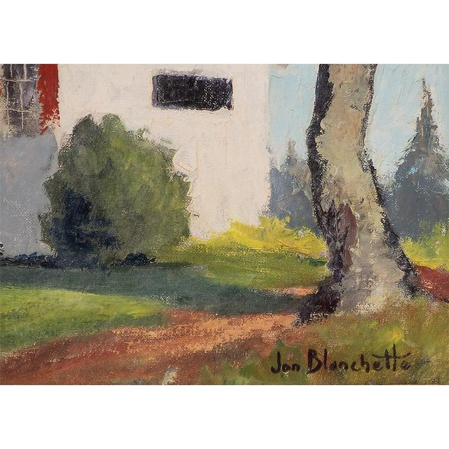 """Country """"The School Master's House"""" California Original Framed Vintage Oil Painting by Jon Blanchette (1908-1987) For Sale - Image 3 of 9"""