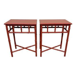 Mid-20th Century Red Faux Bamboo Accent Tables- a Pair For Sale