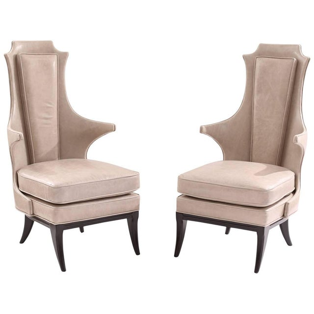 Sculptural Pair of Leather and Ebonized Mahogany Lounge Chairs For Sale In Phoenix - Image 6 of 6
