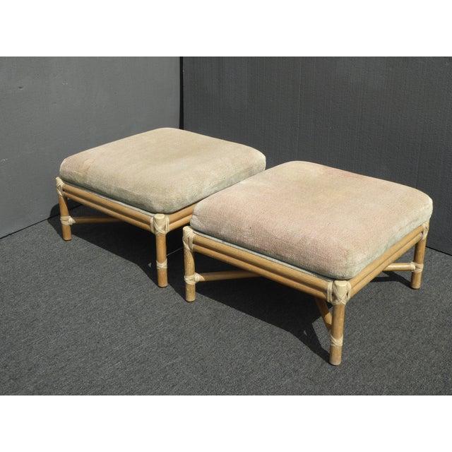 Mid-Century Modern Pair Vintage Mid-Century Modern McGuire Furniture Bamboo Rattan Sage Ottomans For Sale - Image 3 of 11