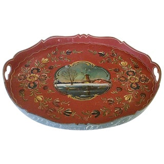Scandinavian Rosemaling Wood Painted Tray For Sale