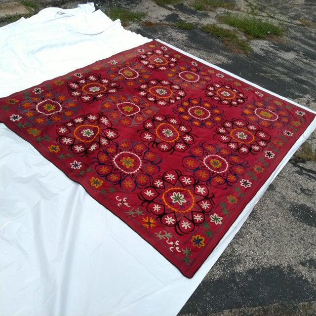 Rustic Vintage Uzbekistan Suzani Textile For Sale - Image 3 of 6