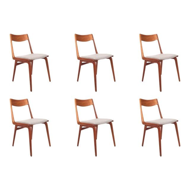 Vintage Erik Christensen for Slagelse Mobelfabrik Danish Teak Boomerang Chairs - Set of 6 For Sale