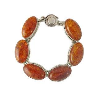 n.e. From Denmark Sterling Silver Amber Link Bracelet For Sale