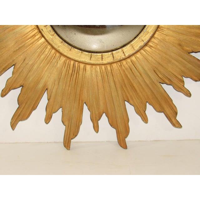 Spanish Gilt Wood Convex Sunburst Mirror For Sale In San Francisco - Image 6 of 9
