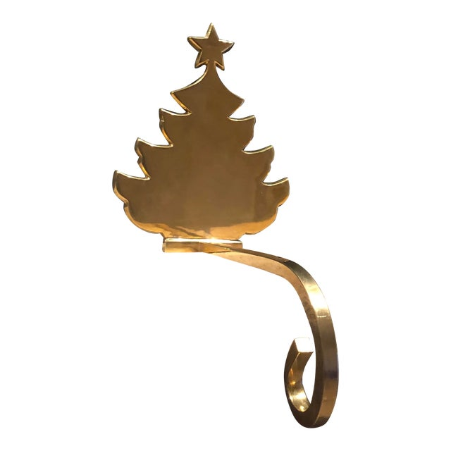 Vintage Christmas Holiday Tree Brass Stocking Hanger For Sale