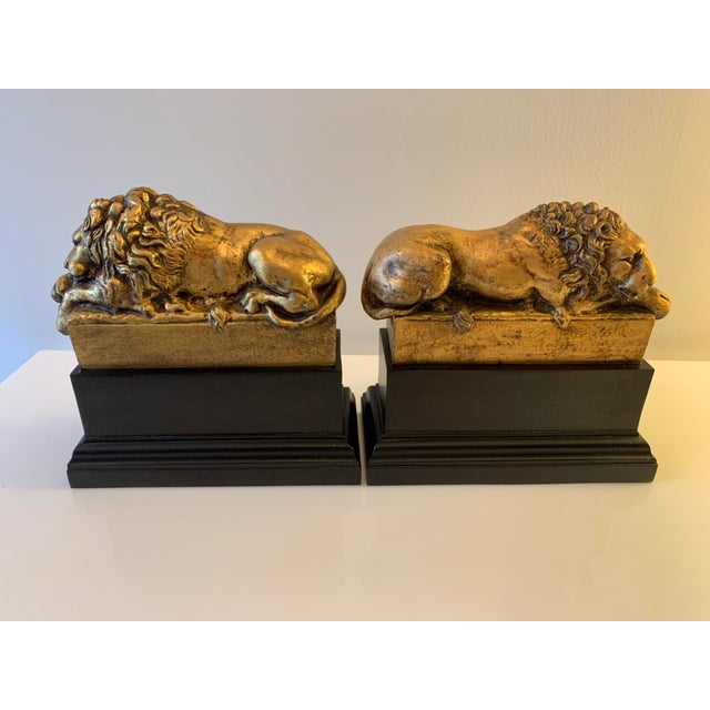 """Vintage Gilt """"Borghese"""" Lion Bookends - a Pair For Sale - Image 4 of 11"""