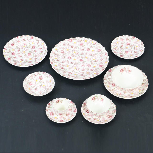 Vintage Copeland Spode Rosebud Chintz China Dinnerware Set - 124 Piece Set For Sale In Charlotte - Image 6 of 13