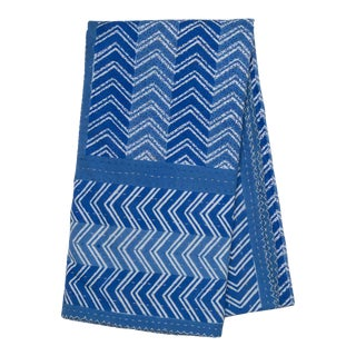 Chevron Hand Stitched Quilted Tablecloth, 8-seat table - Blue For Sale