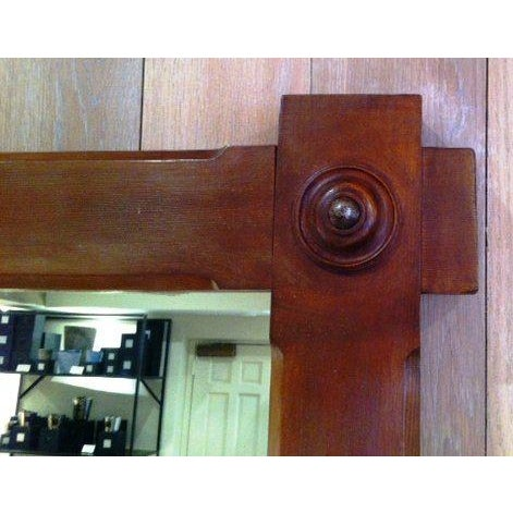 Large-Scale French Oak Mirror with Hand-Carved Cabochon Detail - Image 4 of 5