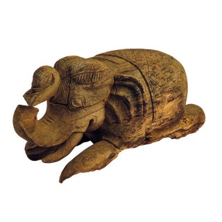 1900s Thai Carved Wood Elephant Sculpture For Sale