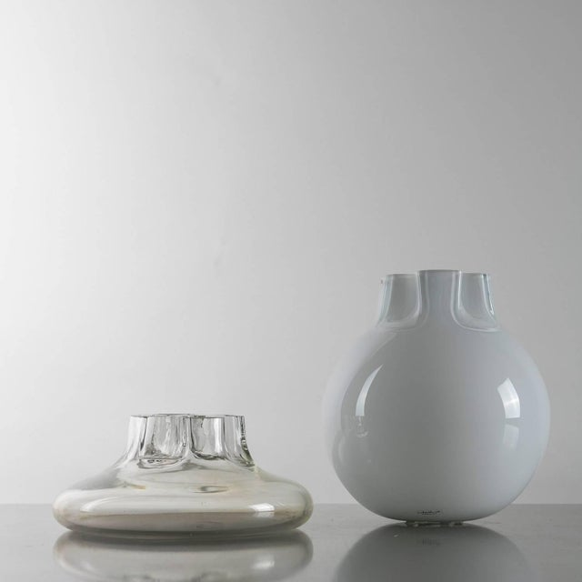 "Marvellous pair of Murano glass vases ""Quattro fori"" by Flavio Barbini for Alfredo Barbini Round shape and the detailed..."