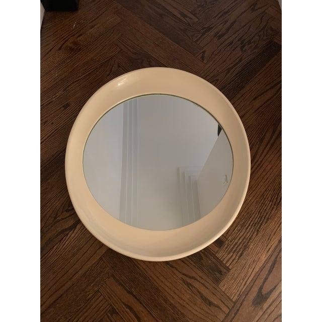 Beige Framed Oval Antique Mirror For Sale - Image 4 of 4