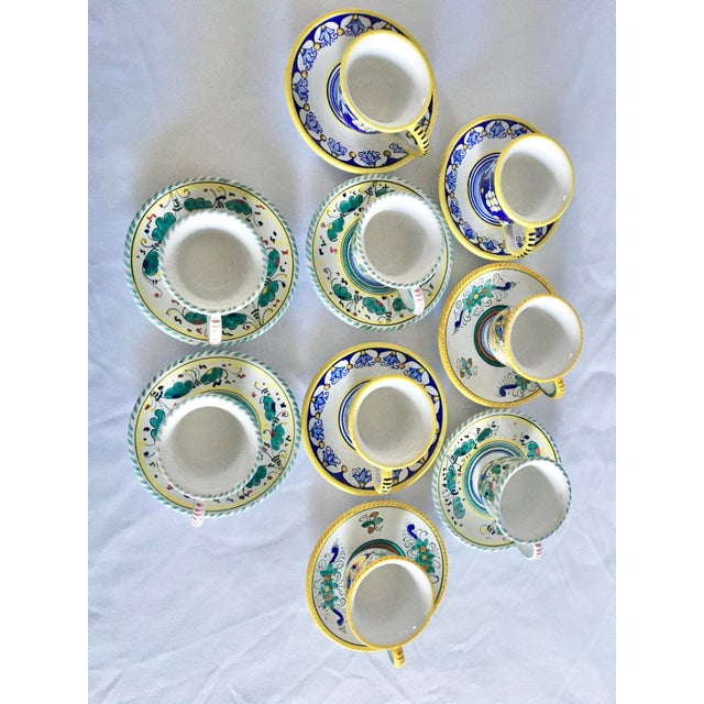 Artistica Italian Majolica Espresso Cups and Saucers - Set of 9 For Sale - Image 10 of 13