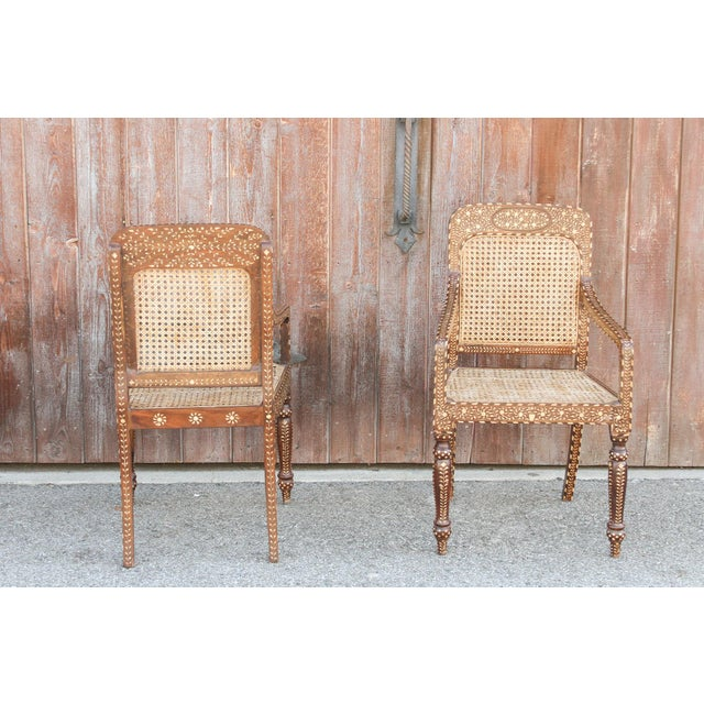 Bone Inlay Colonial Arm Chairs, Pair For Sale - Image 4 of 11