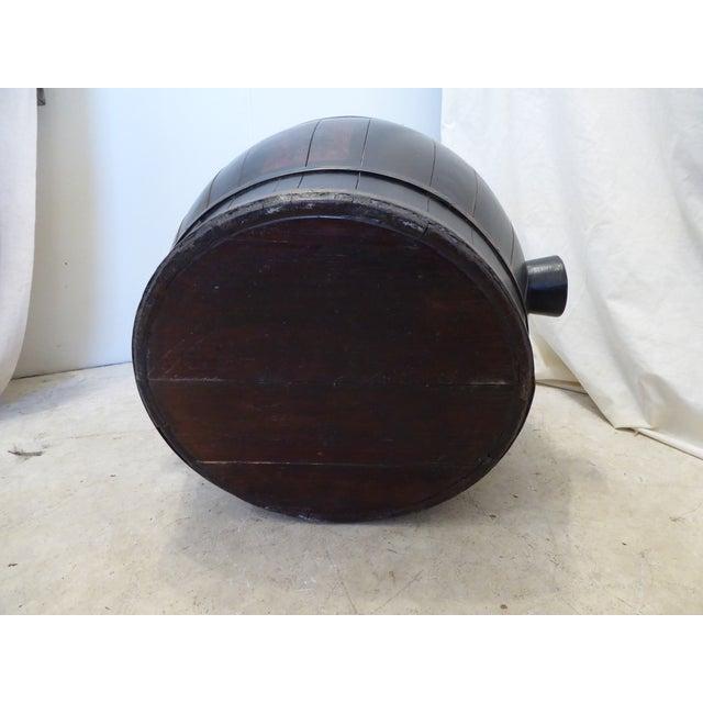 Japanese Vintage Japanese Black Laquered Barrel For Sale - Image 3 of 5