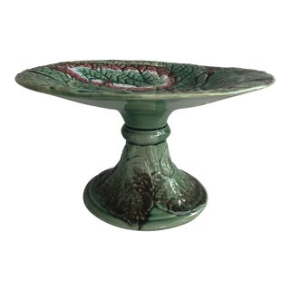 Antique English Green & Brown Leaves Majolica Compote