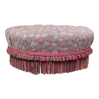 "Huge Ethan Allen Tufted Fringed 38"" Round Foot Stool Bench Seat Oversize Ottoman For Sale"