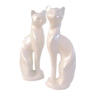 Mid-Century White Lusterware Cat Figurines - a Pair For Sale