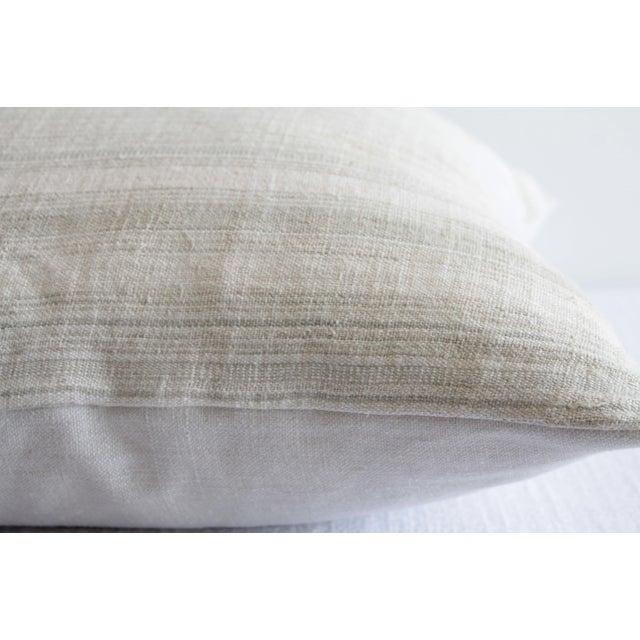 Textile Vintage European Linen Stripe Textile Pillow For Sale - Image 7 of 8