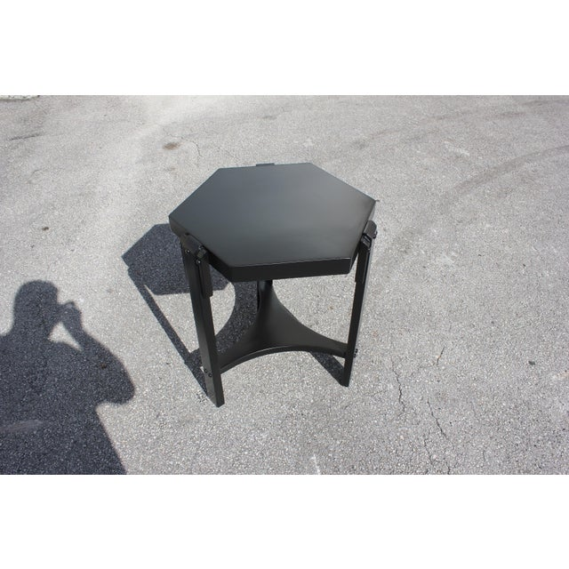 1940s French Art Deco Black Ebonized Coffee Table For Sale - Image 12 of 13