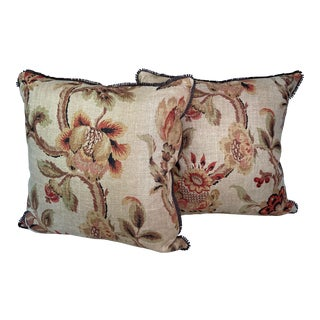 Hand-Block Printed Antique Linen Floral Fabric Pillows- a Pair For Sale