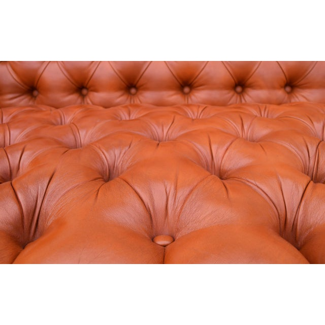 Animal Skin Swedish Leather Chesterfield Sofa For Sale - Image 7 of 13