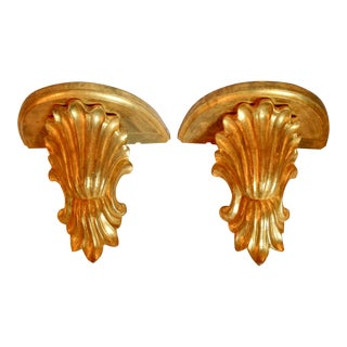 Pair Large Shell Form Wall Brackets For Sale
