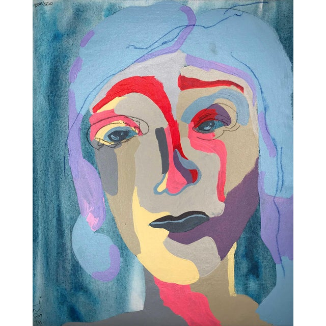 "Contemporary Abstract Portrait Painting ""Blue Haired Babe, No. 4"" - Framed For Sale"
