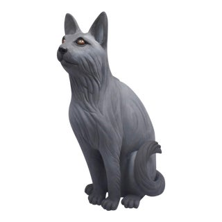 "Realist ""I Have a Cat"" Ceramic & Glaze Sculpture by Karla Walter For Sale"