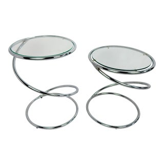 70s Rosen for Pace Chrome Coil Tables, Pair For Sale