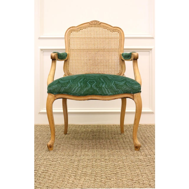 French Malachite Velvet Century Brand Caned French Chairs - a Pair For Sale - Image 3 of 11
