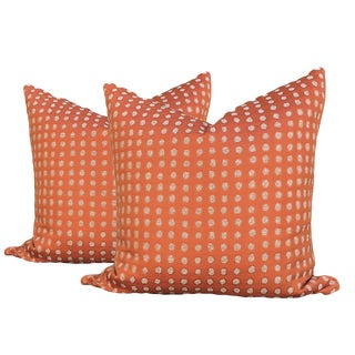 Contemporary Burnt Orange Pillows - a Pair For Sale