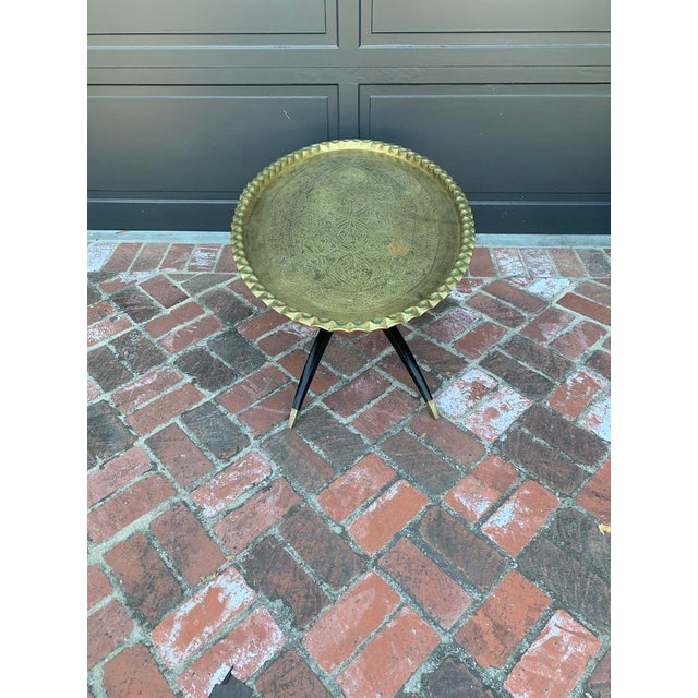 Islamic Mid Century Modern Morrocan Oval Brass Top Spider 4 Leg Coffee Table For Sale - Image 3 of 5