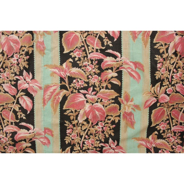 Fabric Antique French Black & Teal Stripes W/ Red Pink Florals 1880 Belle Epoque For Sale - Image 11 of 11