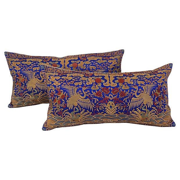 Embroidered Silk Crane Boudoir Pillows - A Pair - Image 1 of 5