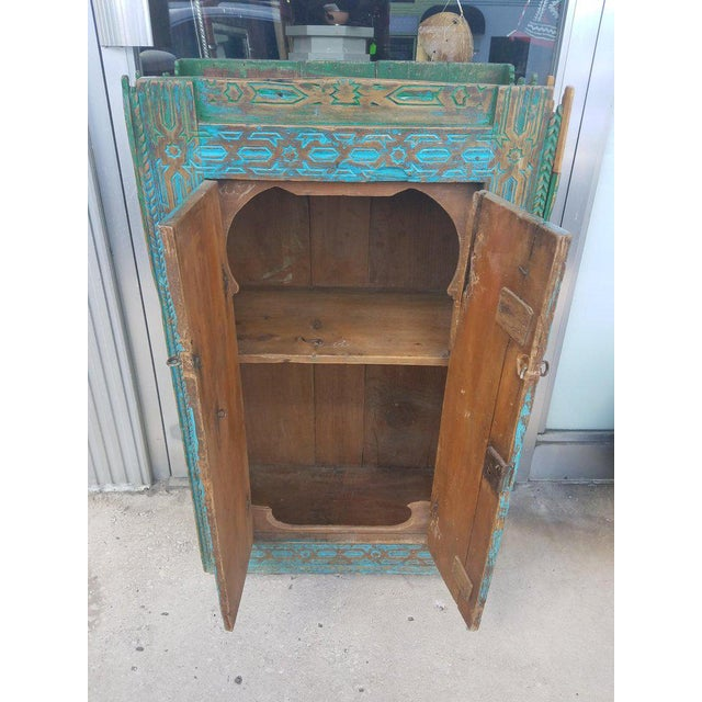 """What an incredible Old Moroccan cabinet from Rabat, Morocco. Aged turquoise handmade Moroccan cedar wooden measuring 39""""..."""