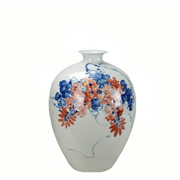 Chinese Red Flower and Blue Vine Detailed White Porcelain Vase For Sale In Boston - Image 6 of 6