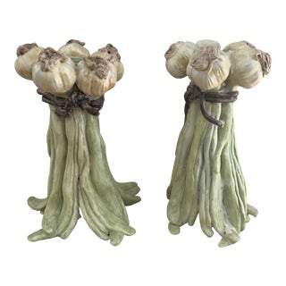 Mario Buatta Style Italian Faience Garlic Form Signed Candle Holders - a Pair For Sale